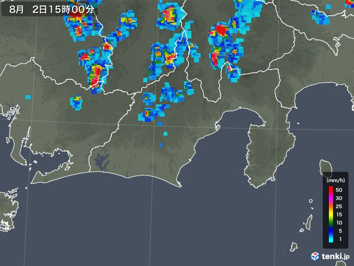 静岡県の雨雲レーダー(2019年08月02日)