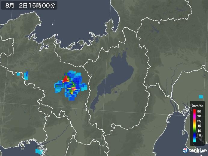 滋賀県の雨雲レーダー(2019年08月02日)
