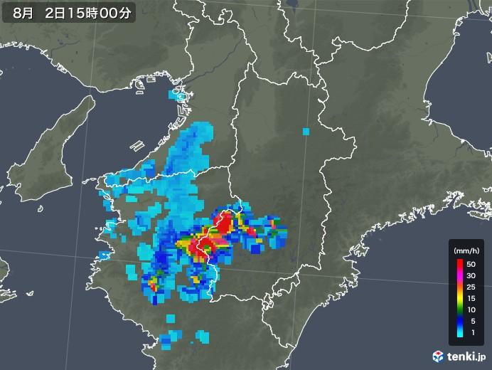 奈良県の雨雲レーダー(2019年08月02日)