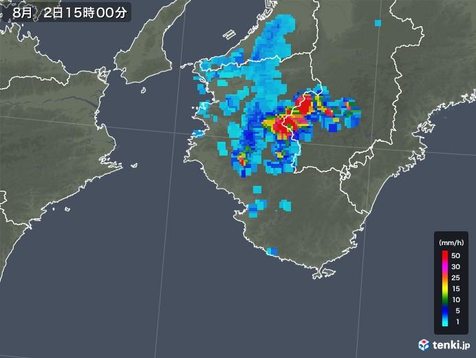 和歌山県の雨雲レーダー(2019年08月02日)
