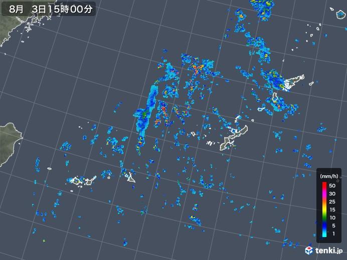 沖縄地方の雨雲レーダー(2019年08月03日)