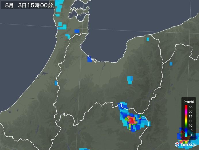 富山県の雨雲レーダー(2019年08月03日)
