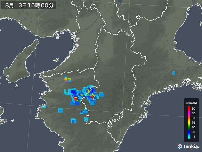 奈良県の雨雲レーダー(2019年08月03日)