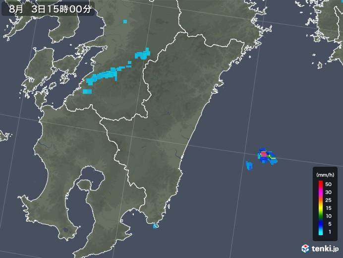 宮崎県の雨雲レーダー(2019年08月03日)