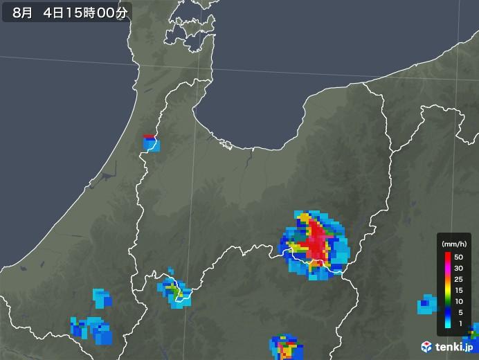 富山県の雨雲レーダー(2019年08月04日)
