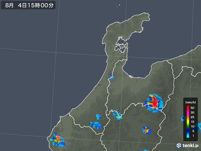 石川県の雨雲レーダー(2019年08月04日)