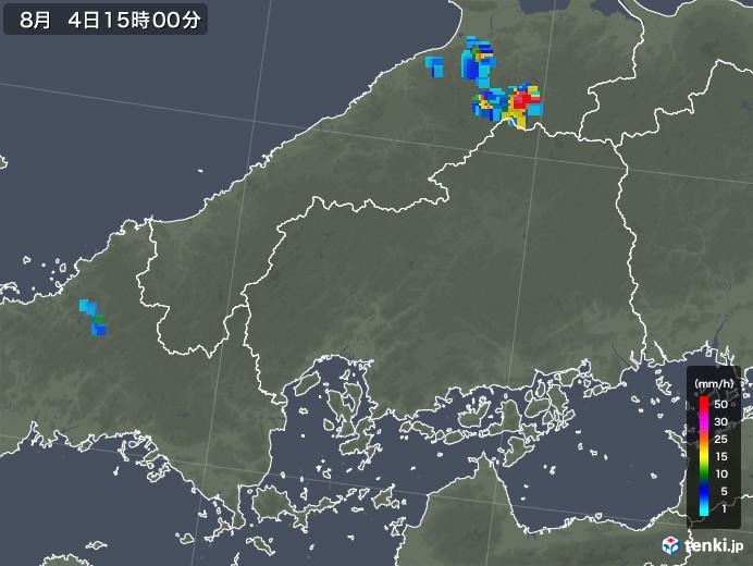 広島県の雨雲レーダー(2019年08月04日)
