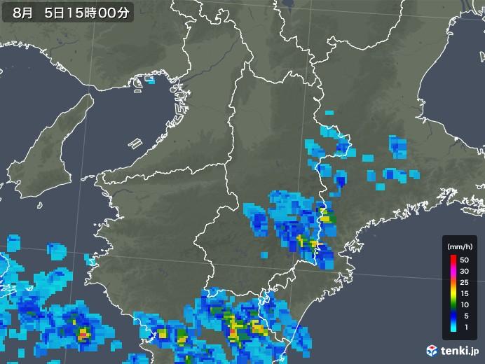 奈良県の雨雲の動き(2019年08月05日)