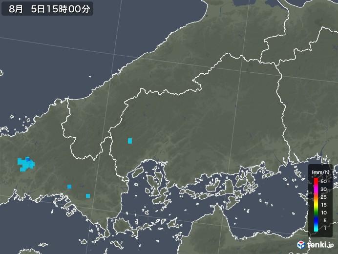 広島県の雨雲レーダー(2019年08月05日)