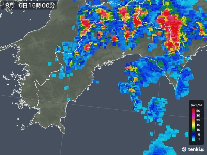 高知県の雨雲レーダー(2019年08月06日)