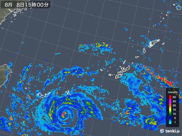 沖縄地方の雨雲レーダー(2019年08月08日)