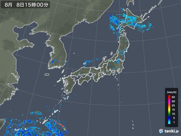 雨雲レーダー(2019年08月08日)