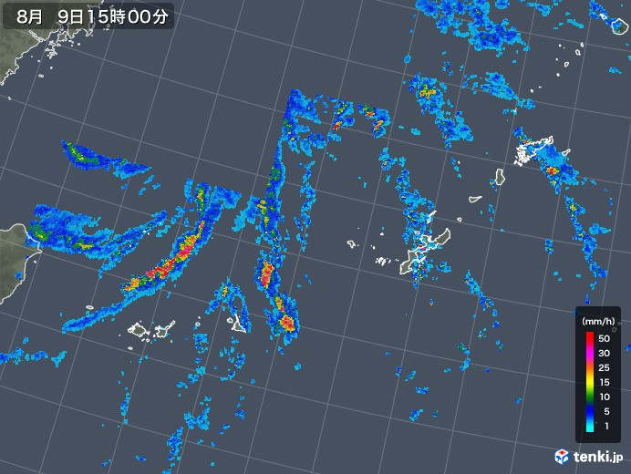 沖縄地方の雨雲レーダー(2019年08月09日)