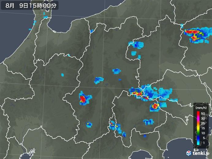 長野県の雨雲の動き(2019年08月09日)
