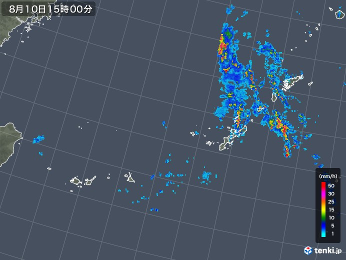 沖縄地方の雨雲レーダー(2019年08月10日)