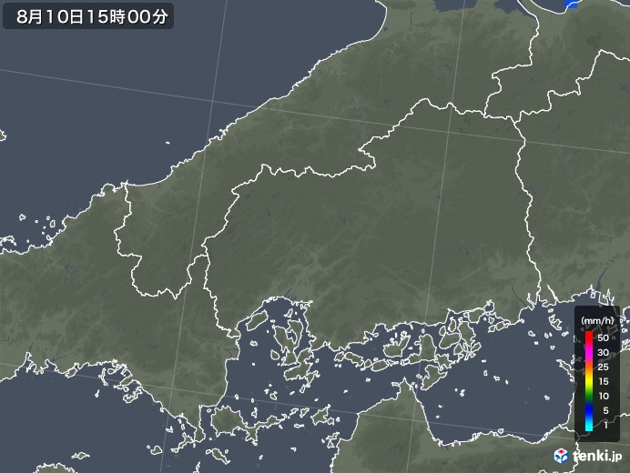 広島県の雨雲レーダー(2019年08月10日)