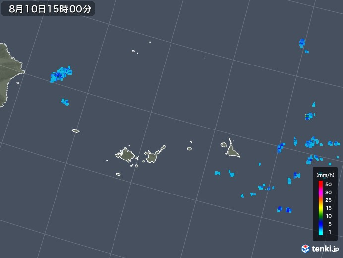宮古島・石垣・与那国(沖縄県)の雨雲レーダー(2019年08月10日)