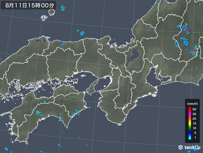 近畿地方の雨雲レーダー(2019年08月11日)