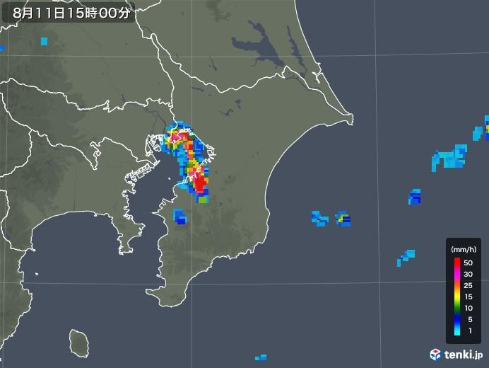 千葉県の雨雲レーダー(2019年08月11日)