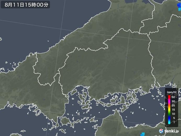 広島県の雨雲レーダー(2019年08月11日)