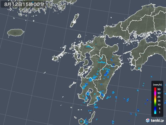 九州地方の雨雲レーダー(2019年08月12日)