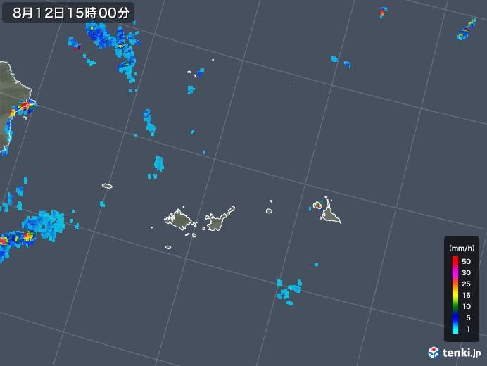宮古島・石垣・与那国(沖縄県)の雨雲レーダー(2019年08月12日)
