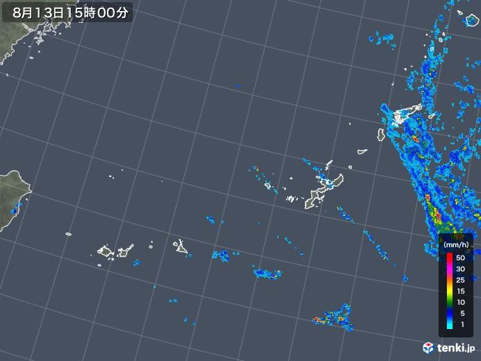 沖縄地方の雨雲レーダー(2019年08月13日)