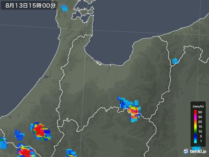 富山県の雨雲レーダー(2019年08月13日)