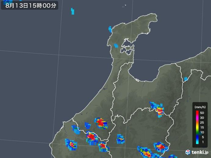 石川県の雨雲レーダー(2019年08月13日)