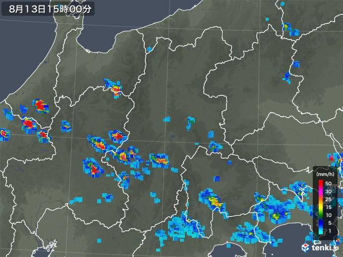 長野県の雨雲レーダー(2019年08月13日)
