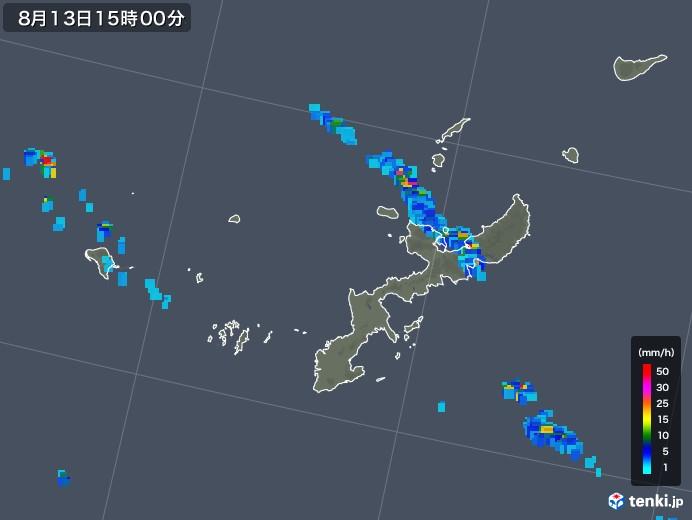 沖縄県の雨雲の動き(2019年08月13日)