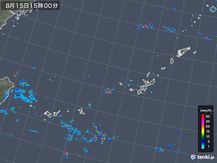 沖縄地方の雨雲レーダー(2019年08月15日)