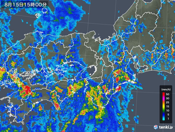 近畿地方の雨雲レーダー(2019年08月15日)