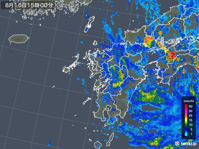 九州地方の雨雲レーダー(2019年08月15日)