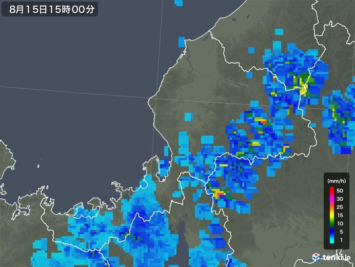 福井県の雨雲レーダー(2019年08月15日)