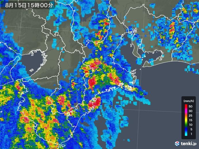 三重県の雨雲レーダー(2019年08月15日)