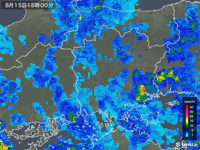 岡山県の雨雲レーダー(2019年08月15日)