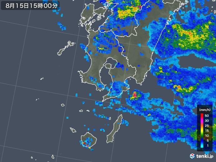鹿児島県の雨雲レーダー(2019年08月15日)