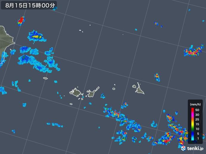 宮古島・石垣・与那国(沖縄県)の雨雲レーダー(2019年08月15日)