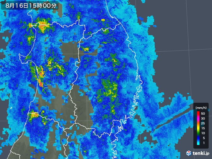 岩手県の雨雲レーダー(2019年08月16日)