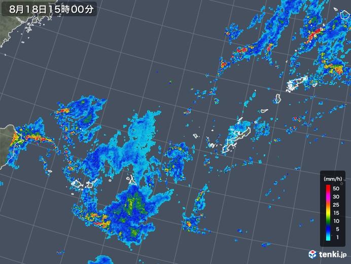 沖縄地方の雨雲レーダー(2019年08月18日)