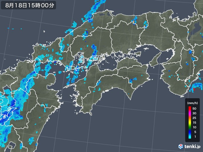四国地方の雨雲レーダー(2019年08月18日)