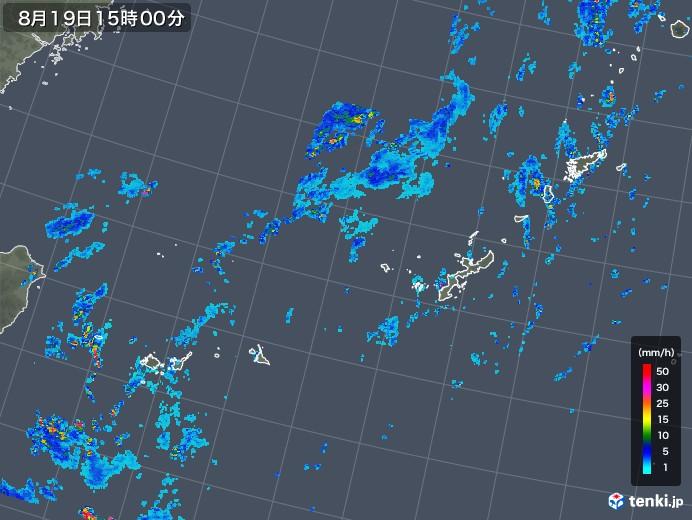 沖縄地方の雨雲レーダー(2019年08月19日)