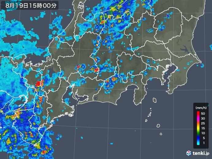 東海地方の雨雲レーダー(2019年08月19日)