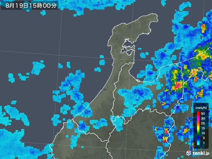 石川県の雨雲レーダー(2019年08月19日)