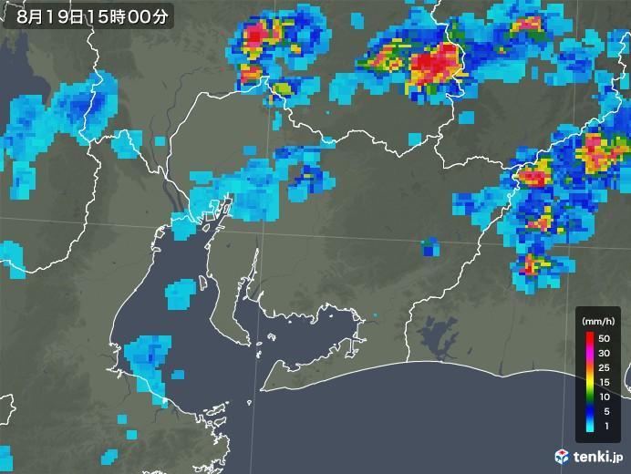 愛知県の雨雲レーダー(2019年08月19日)