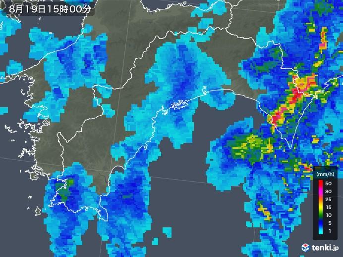 高知県の雨雲レーダー(2019年08月19日)