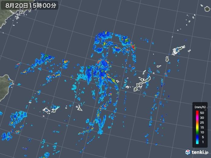 沖縄地方の雨雲レーダー(2019年08月20日)