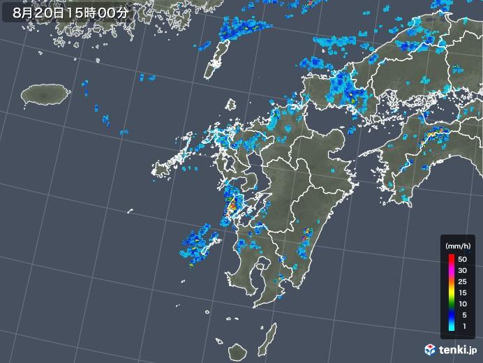 九州地方の雨雲レーダー(2019年08月20日)