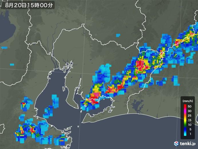 愛知県の雨雲レーダー(2019年08月20日)